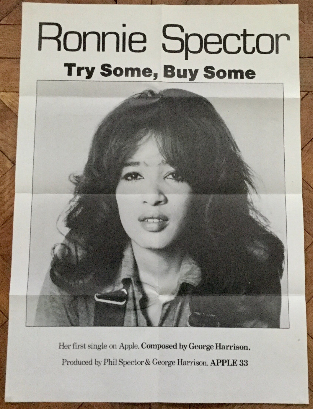 Beatles Ronnie Spector Try Some Buy Some Promo Apple Records Poster UK 1971