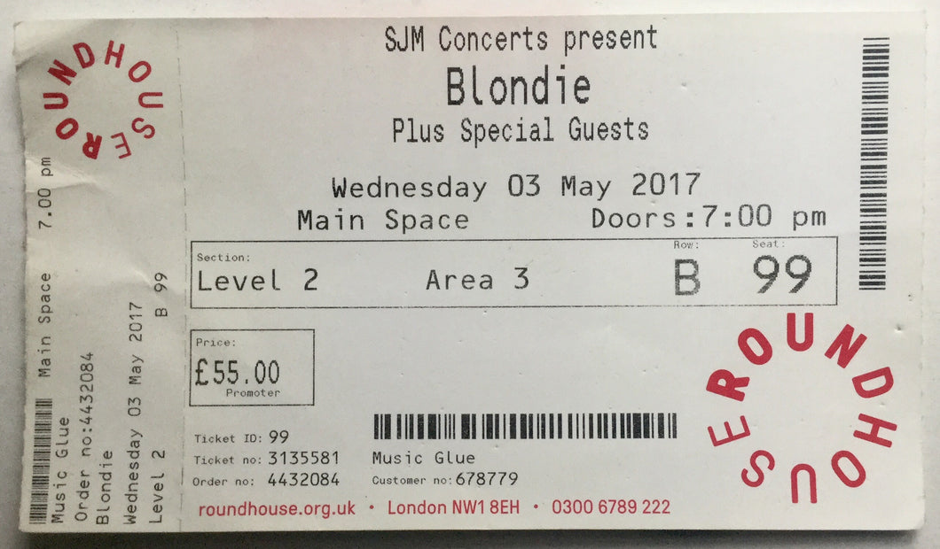 Blondie Original Used Concert Ticket Roundhouse London 3rd May 2017