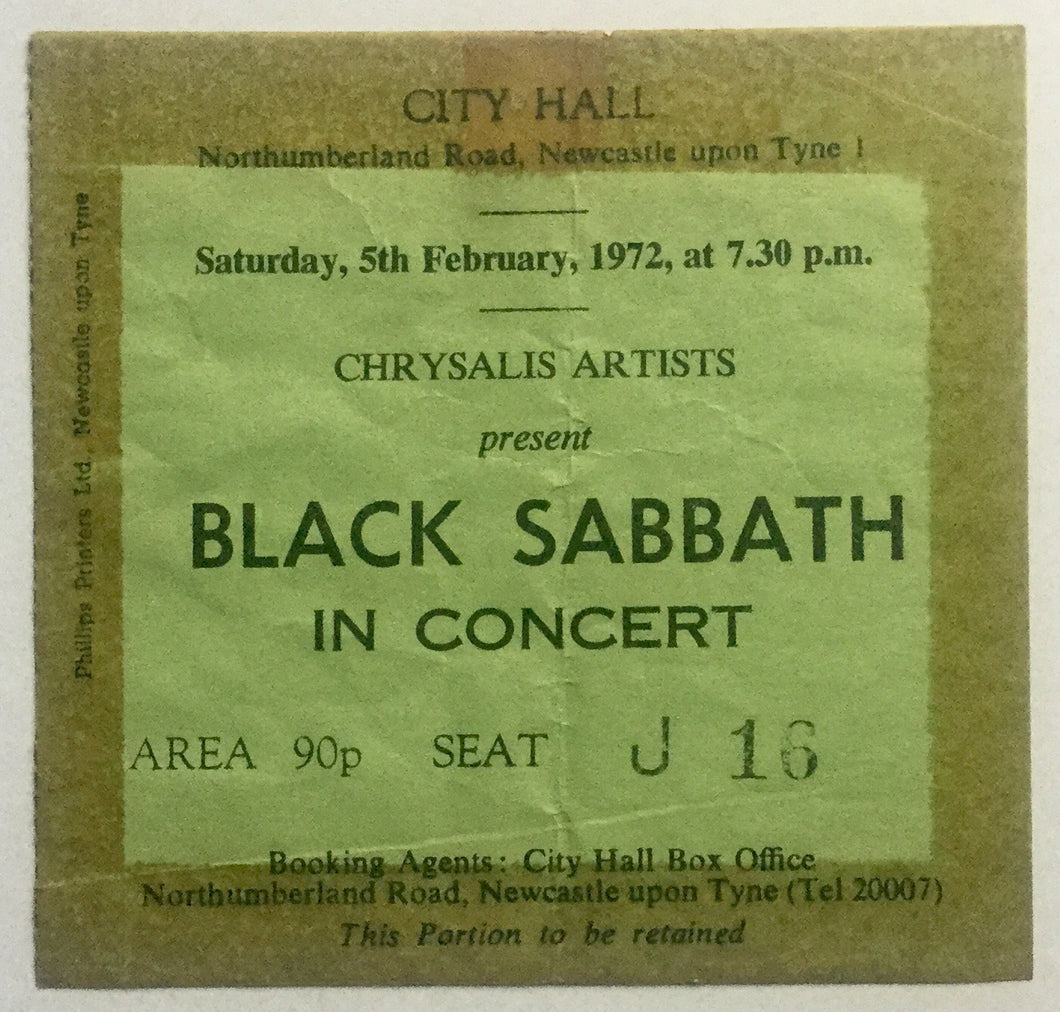 Black Sabbath Original Used Concert Ticket City Hall Newcastle 5th Feb 1972