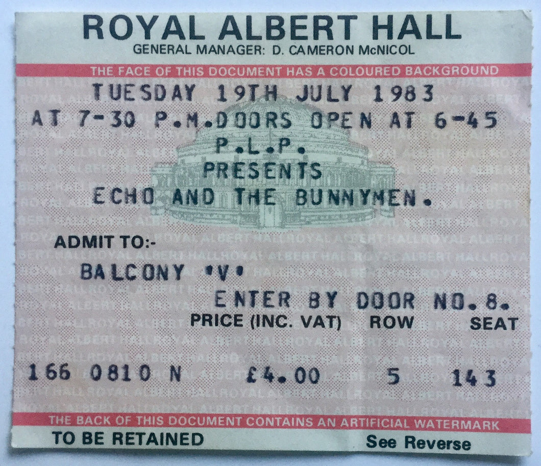 Echo & The Bunnymen Original Concert Ticket Royal Albert Hall London 19th July 1983