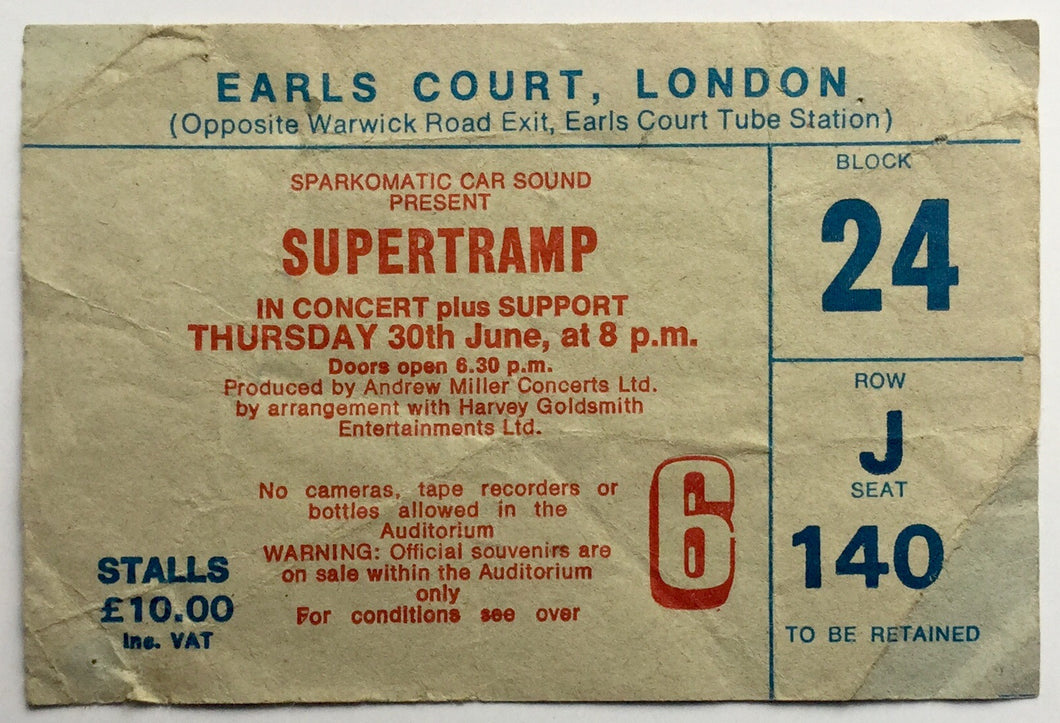 Supertramp Original Used Concert Ticket Earls Court London 30th June 1983