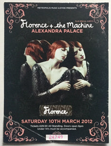 Florence & The Machine Original Used Concert Ticket Alexandra Palace London 10th March 2012