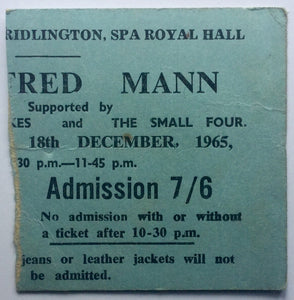 Manfred Mann Original Concert Ticket Spa Royal Hall Bridlington 18th Dec 1965