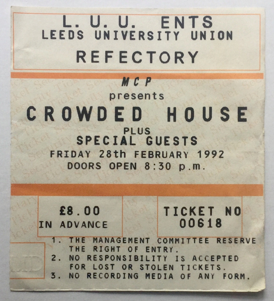 Crowded House Original Used Concert Ticket Refectory Leeds University 28th Feb 1992
