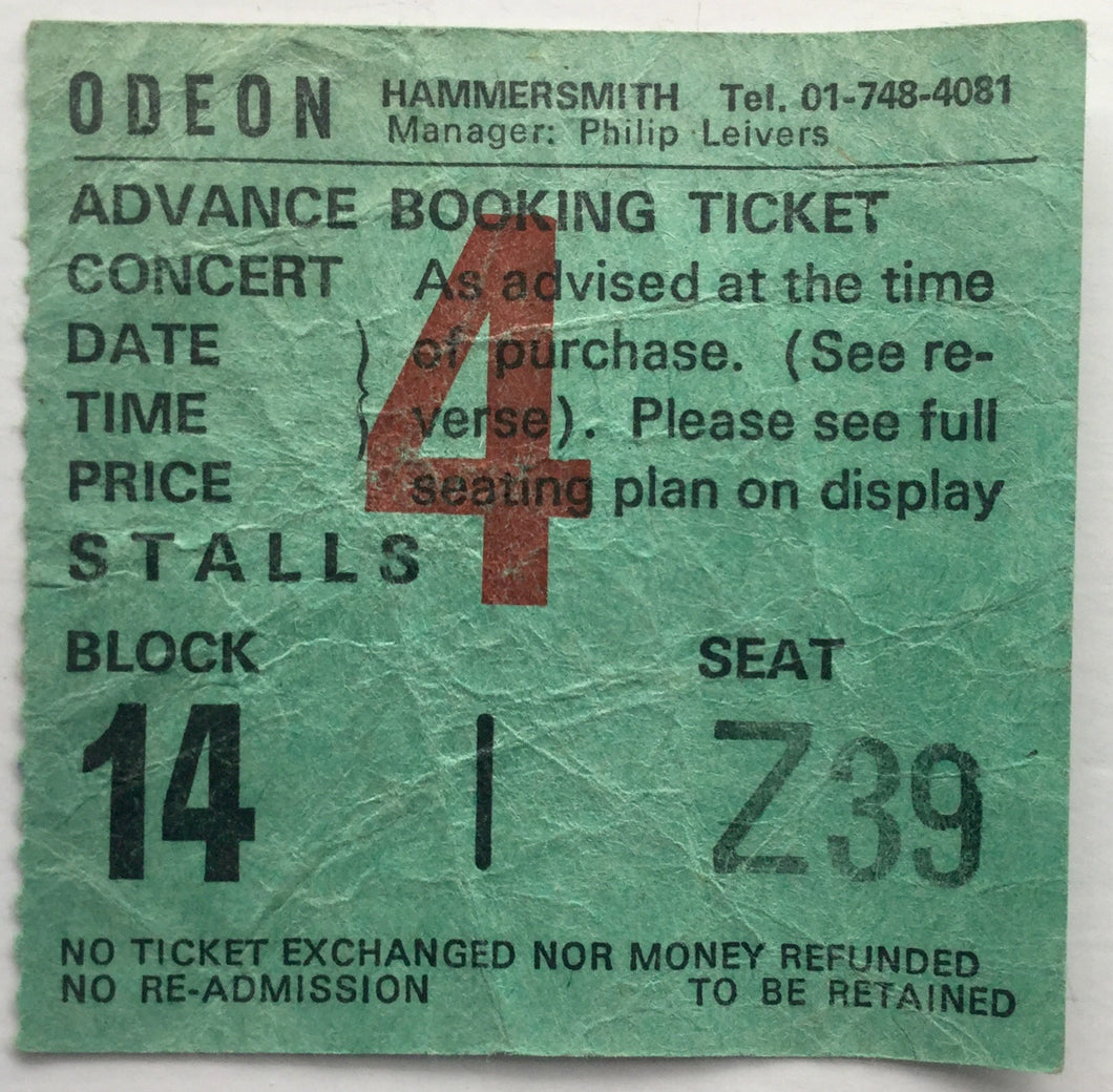 Budgie Original Used Concert Ticket Hammersmith Odeon London 3rd March 1978