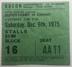 Supertramp Original Used Concert Ticket Odeon Hammersmith London 6th Dec 1975