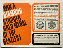 Load image into Gallery viewer, Beatles Silver Medal Promotional Handbill Flyer Modern Medals Ltd 1965