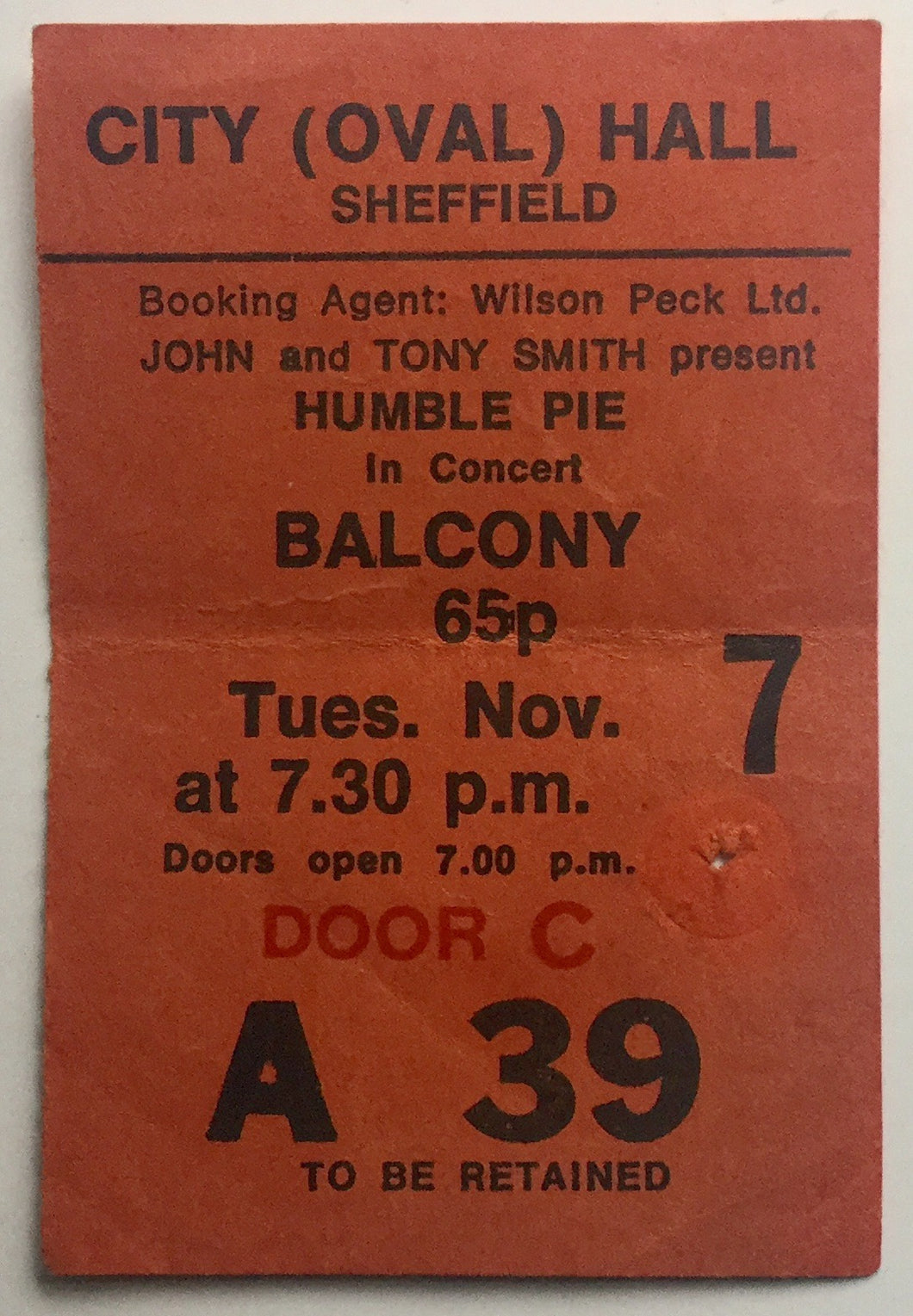 Humble Pie Original Used Concert Ticket City Hall Sheffield 7th Nov 1972