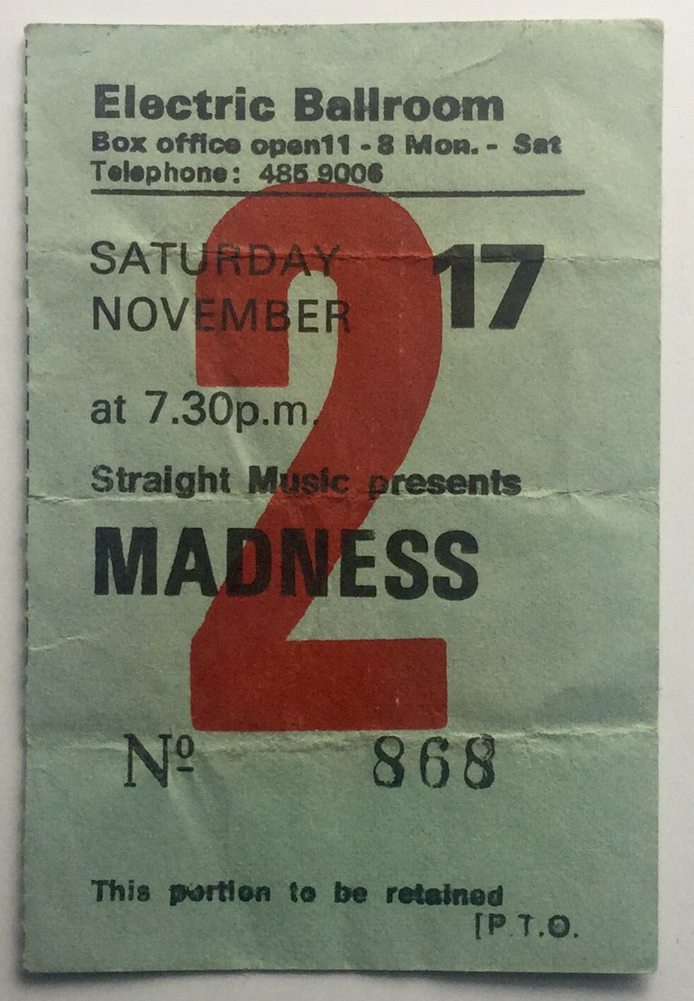 Madness Original Used Concert Ticket Electric Ballroom London 17th Nov 1979