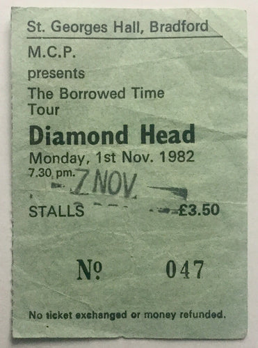 Diamond Head Original Used Concert Ticket St George's Hall Bradford 7th Nov 1982