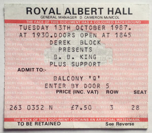 B.B. King Original Used Concert Ticket Royal Albert Hall London 13th Oct 1987