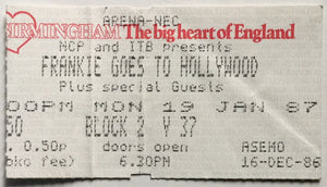Frankie Goes To Hollywood Original Used Concert Ticket NEC Arena Birmingham 19th Jan 1987