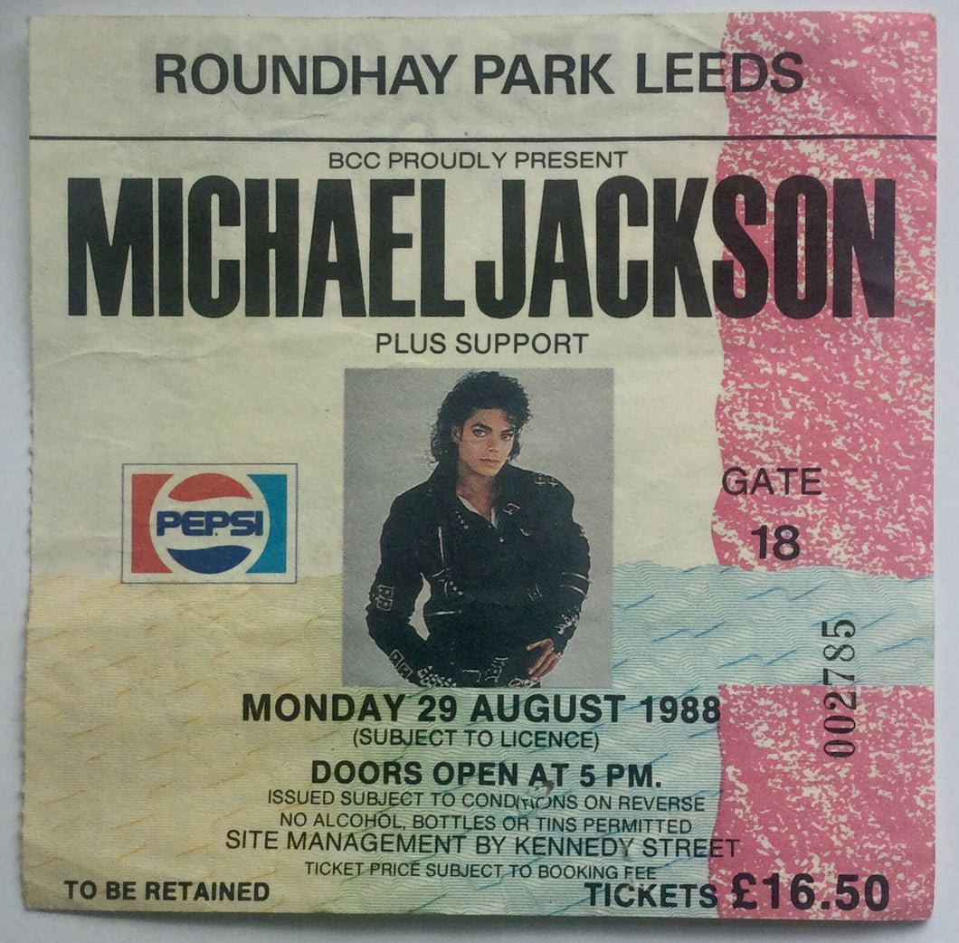 Michael Jackson Original Used Concert Ticket Roundhay Park Leeds 29th Aug 1988
