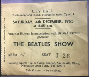 Beatles Original Used Concert Ticket City Hall Newcastle 4th Dec 1965