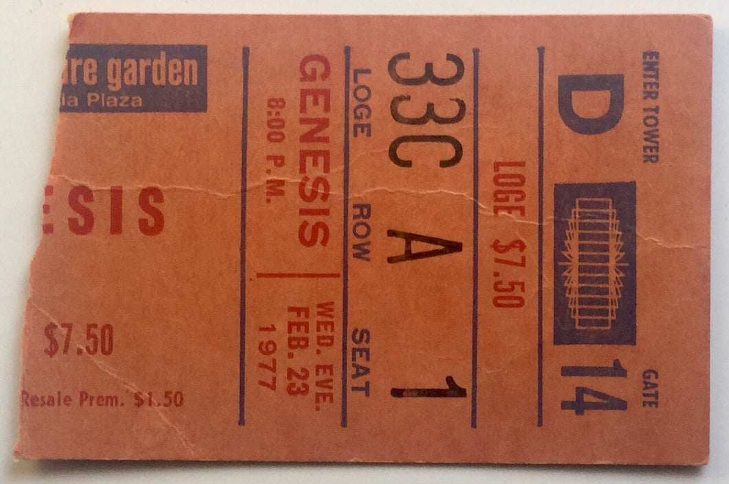 Genesis Original Used Concert Ticket Madison Square Garden New York 23rd Feb 1977