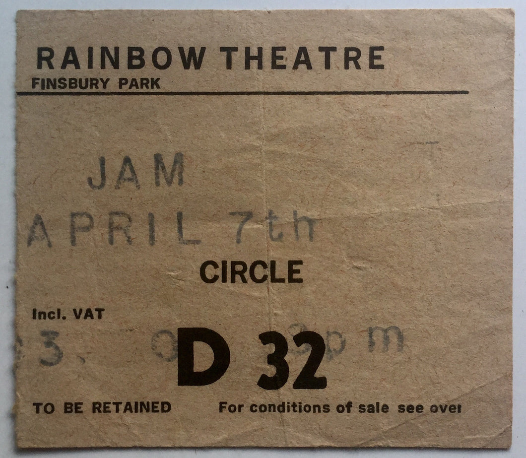 Jam Original Used Concert Ticket Rainbow Theatre London 7th Apr 1980