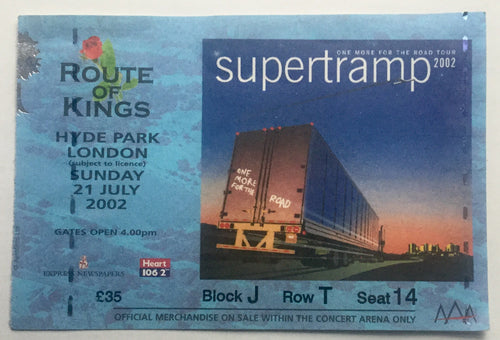 Supertramp Original Used Concert Ticket Hyde Park London 21st Jul 2002