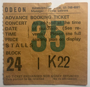 Status Quo Original Used Concert Ticket Hammersmith Odeon London 11th March 1981