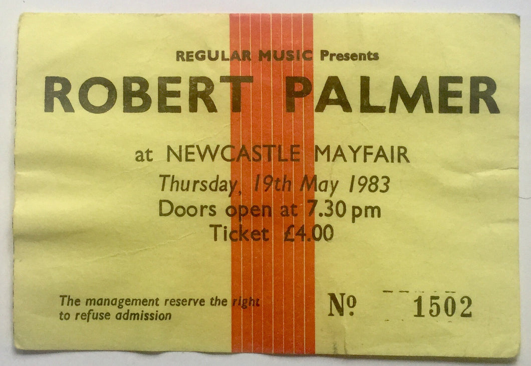 Robert Palmer Original Used Concert Ticket Newcastle Mayfair 19th May 1983