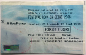 Radiohead Morrissey Original Used Concert Ticket Festival Rock en Seine Paris 2006