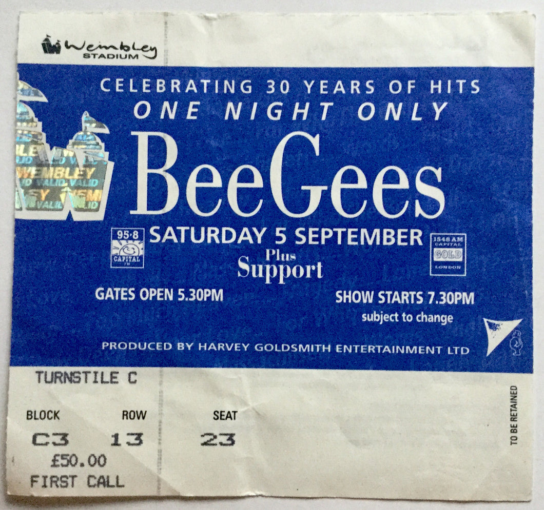 Bee Gees Original Used Concert Ticket Wembley Stadium London 5th Sept 1998