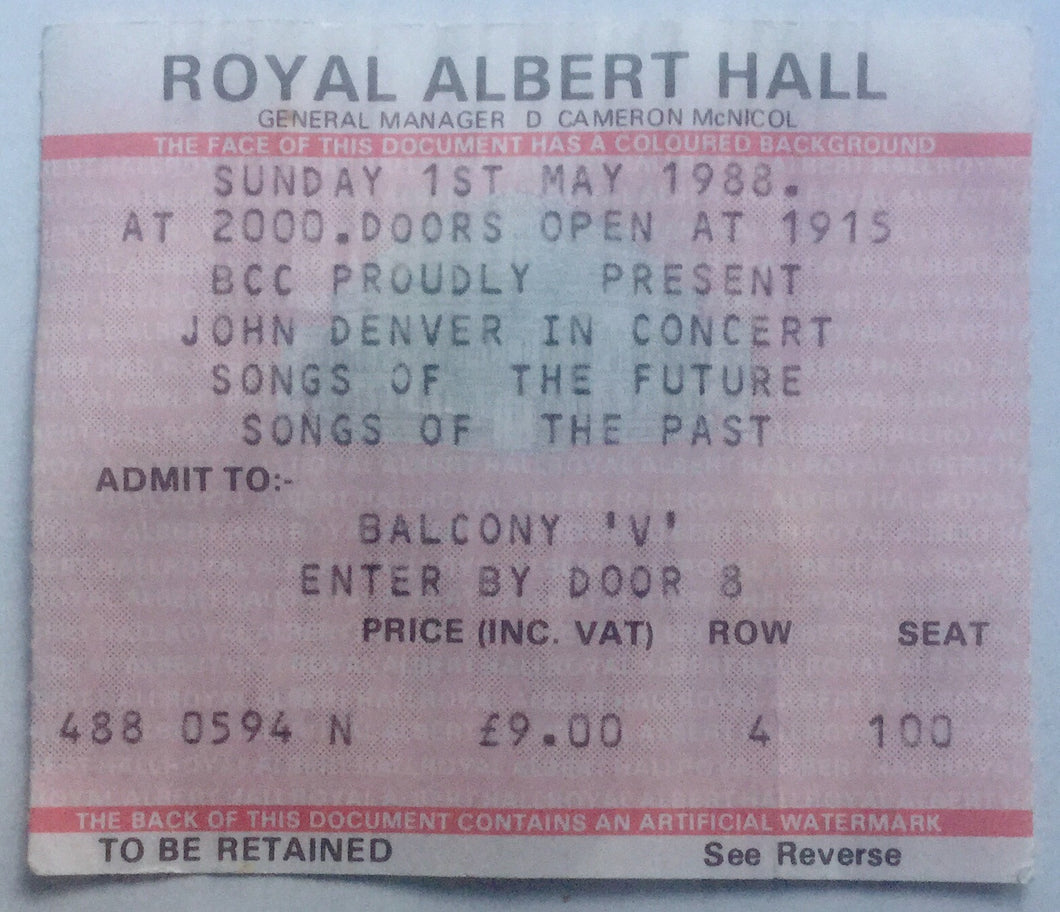 John Denver Original Used Concert Ticket Royal Albert Hall London 1st May 1988