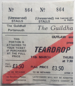 Teardrop Explodes Original Used Concert Ticket Guildhall Portsmouth 11th Mar 1982