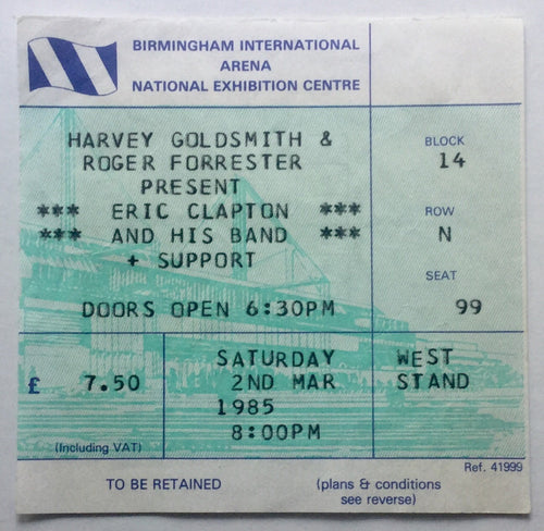Eric Clapton Original Used Concert Ticket NEC Birmingham 2nd Mar 1985