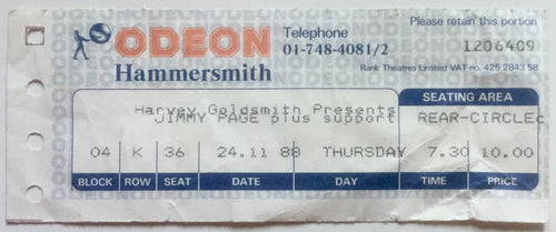 Led Zeppelin Jimmy Page Original Used Concert Ticket Hammersmith Odeon London 24th Nov 1988