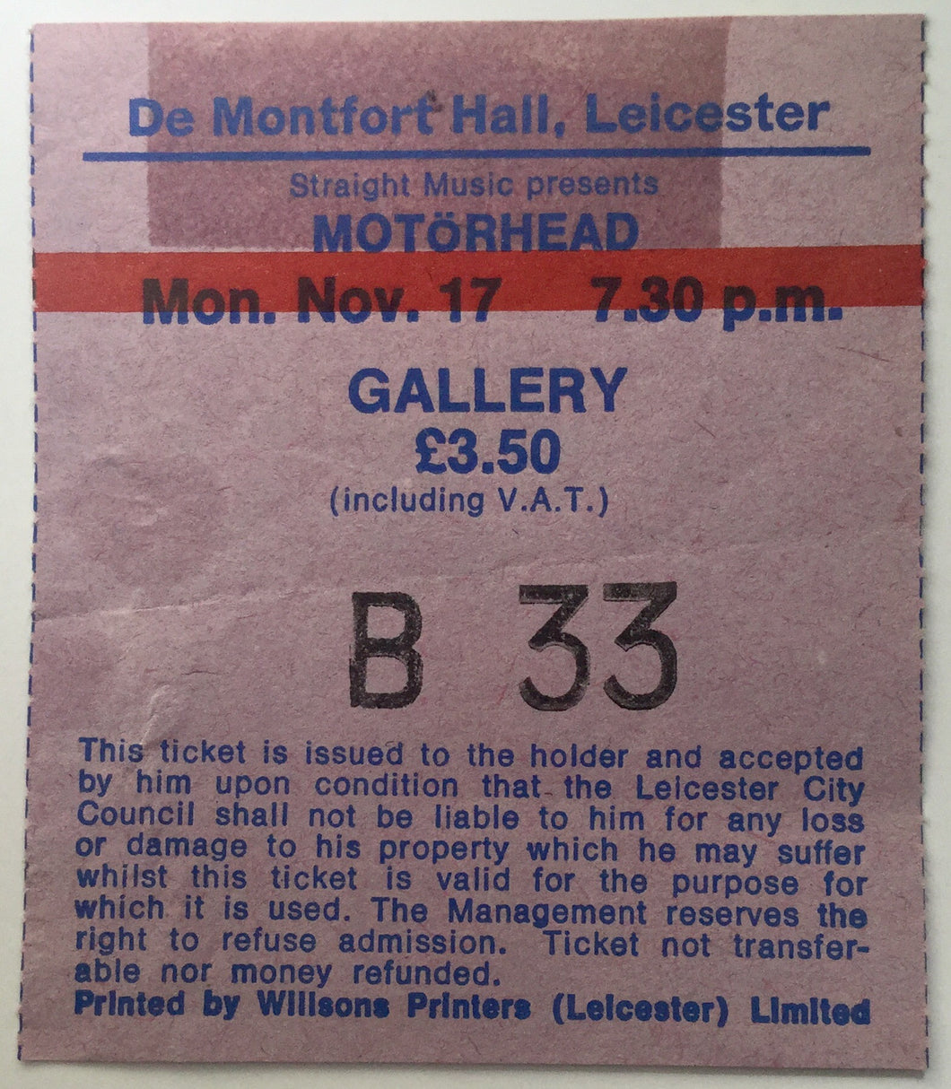 Motörhead Original Used Concert Ticket De Montfort Hall Leicester 17th Nov 1980