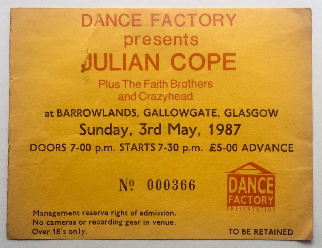 Julian Cope Original Used Concert Ticket Barrowlands Glasgow 3rd May 1987