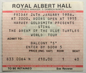 Sting Original Used Concert Ticket Royal Albert Hall London 24th Jan 1986