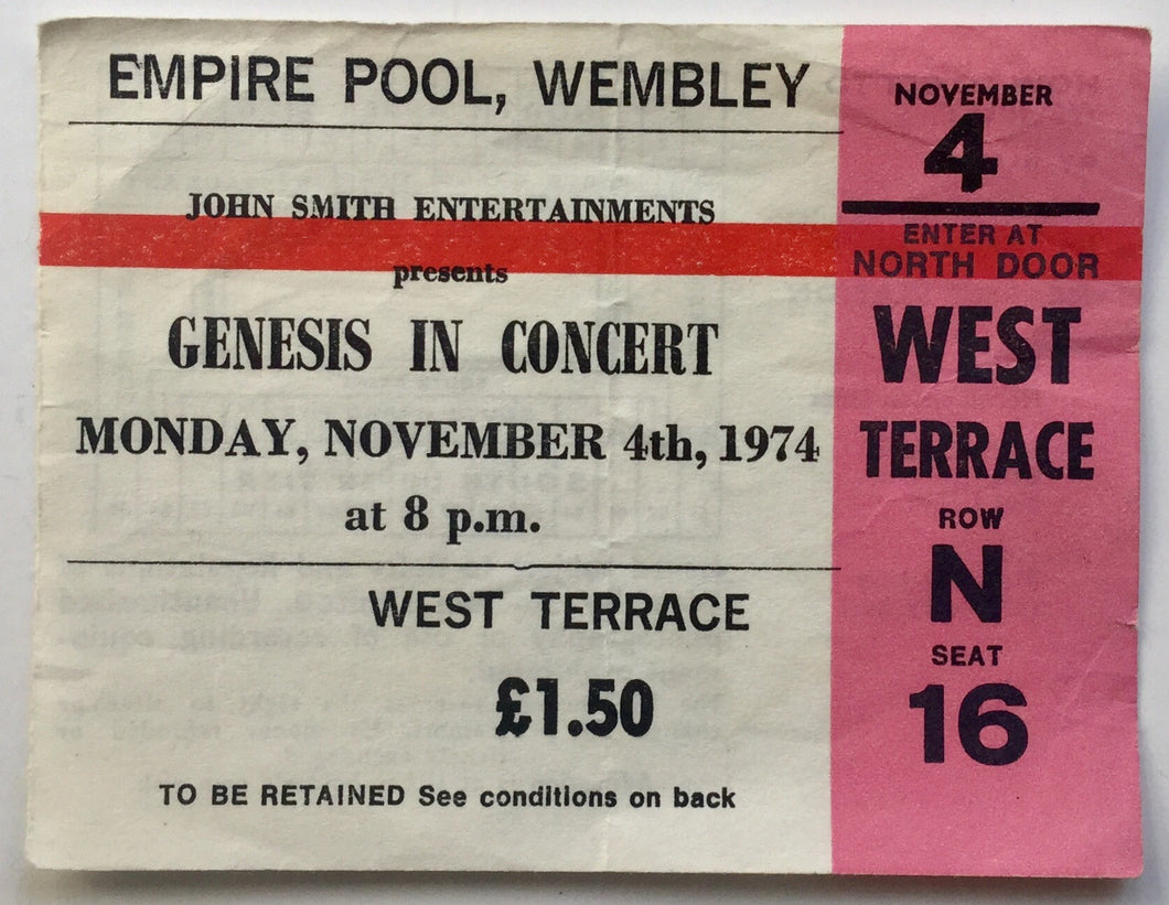 Genesis Original Used Concert Ticket Empire Pool Wembley London 4th Nov 1974
