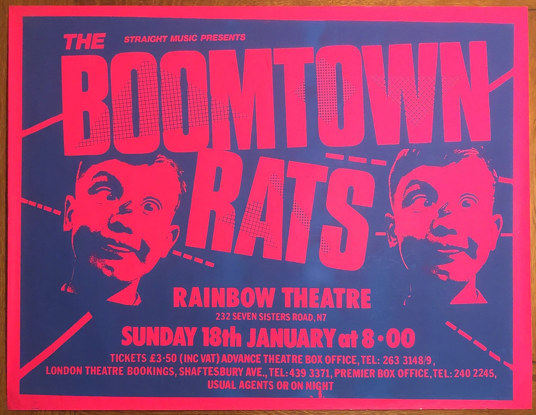 Boomtown Rats Original Concert Gig Poster Rainbow Theatre London 18th January 1981