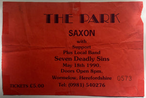 Saxon Original Used Concert Ticket The Park Hall Ballroom Wormelow 18th May 1990
