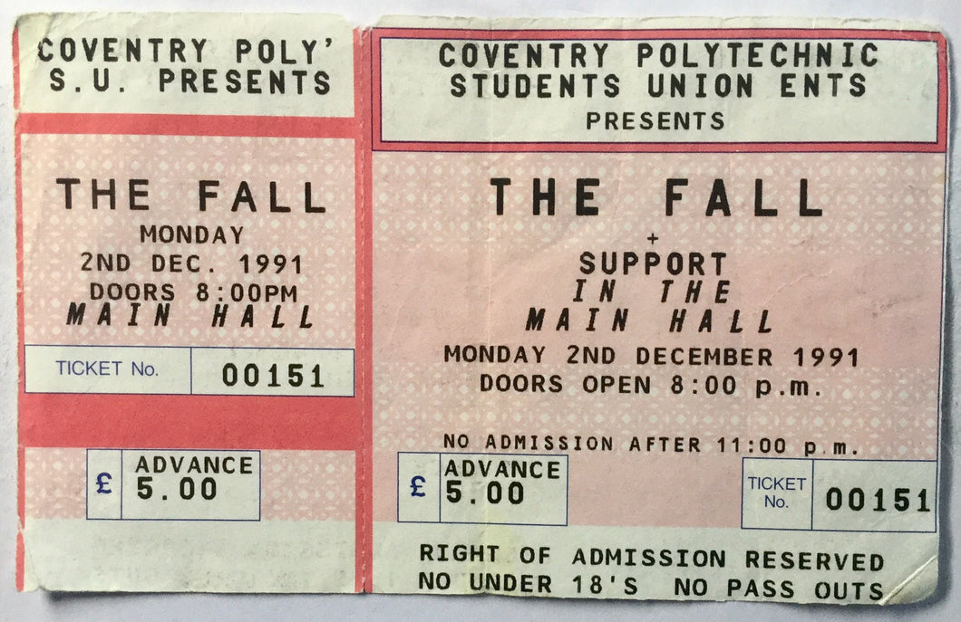 Fall Original Unused Concert Ticket Coventry Polytechnic 2nd Dec 1991