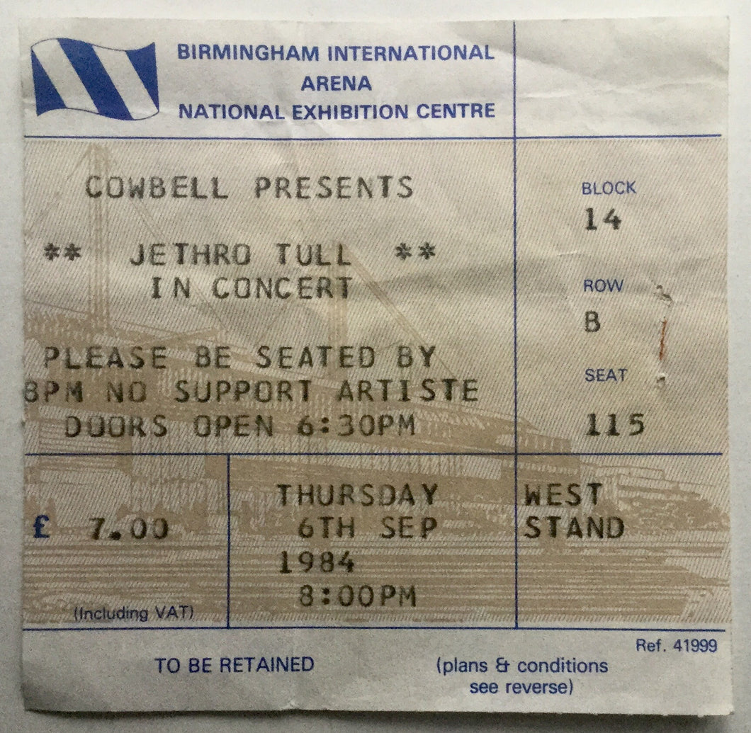 Jethro Tull Original Used Concert Ticket NEC Birmingham 6th Sept 1984