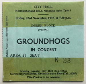 Groundhogs Original Used Concert Ticket City Hall Newcastle 23rd Nov 1973