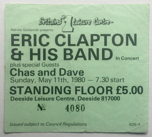 Eric Clapton Original Used Concert Ticket Deeside Leisure Centre 11th May 1980