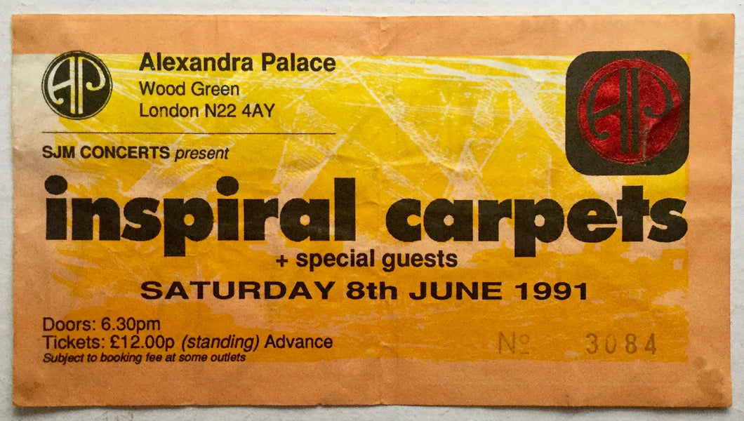 Inspiral Carpets Original Used Concert Ticket Alexandra Palace London 8th June 1991