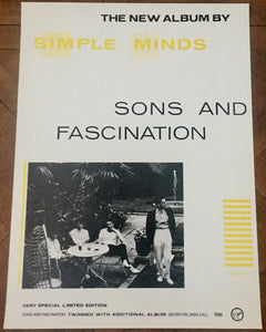 Simple Minds Sons and Fascinations Original Promo Poster Virgin Records 1981