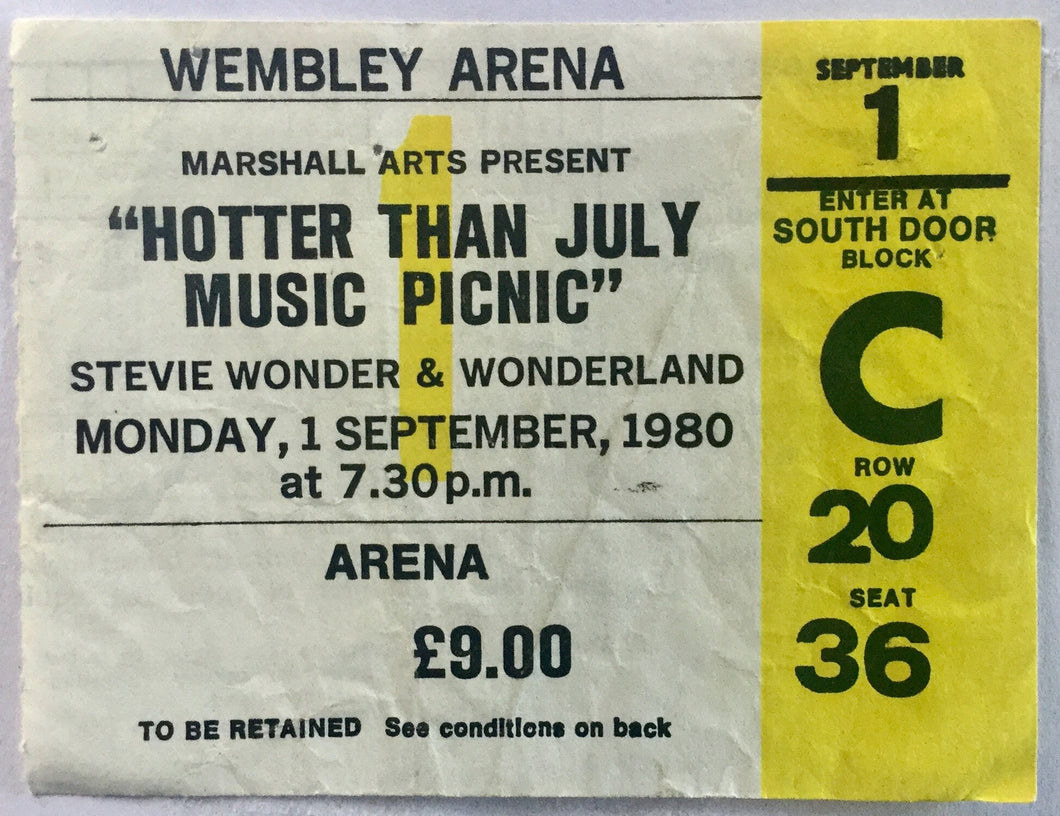 Stevie Wonder Original Used Concert Ticket Wembley Arena London 1980