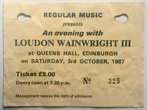 London Wainwright III Original Used Concert Ticket Queens Hall Edinburgh 3rd October 1987