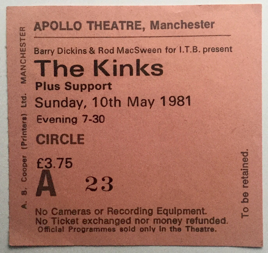 Kinks Original Used Concert Ticket Apollo Theatre Manchester 10th May 1981