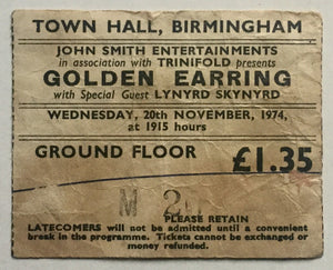 Lynyrd Skynyrd Golden Earring Original Used Concert Ticket Town Hall Birmingham 20th Nov 1974
