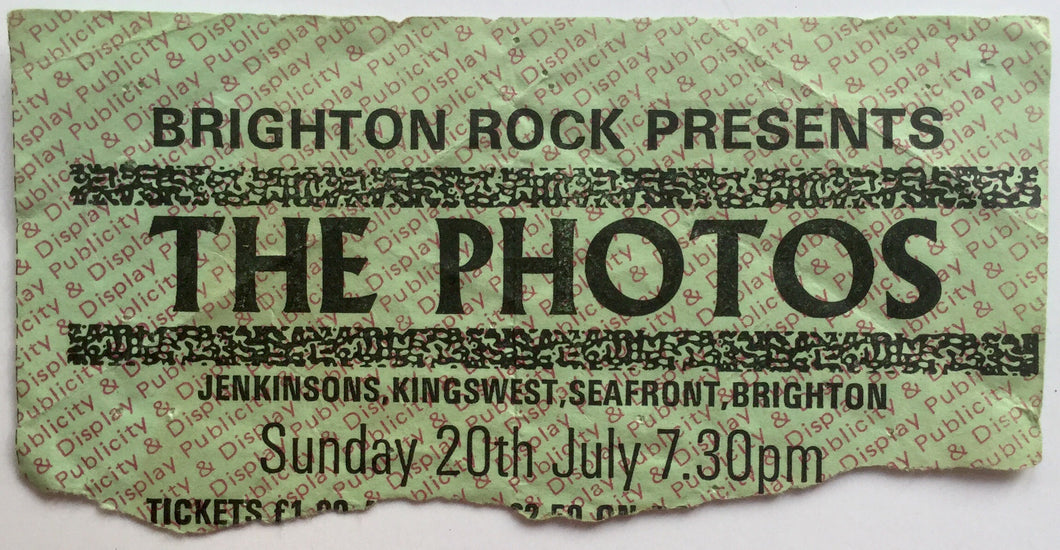 Photos Wendy Wu Original Used Concert Ticket Jenkinsons Brighton 20th July 1980