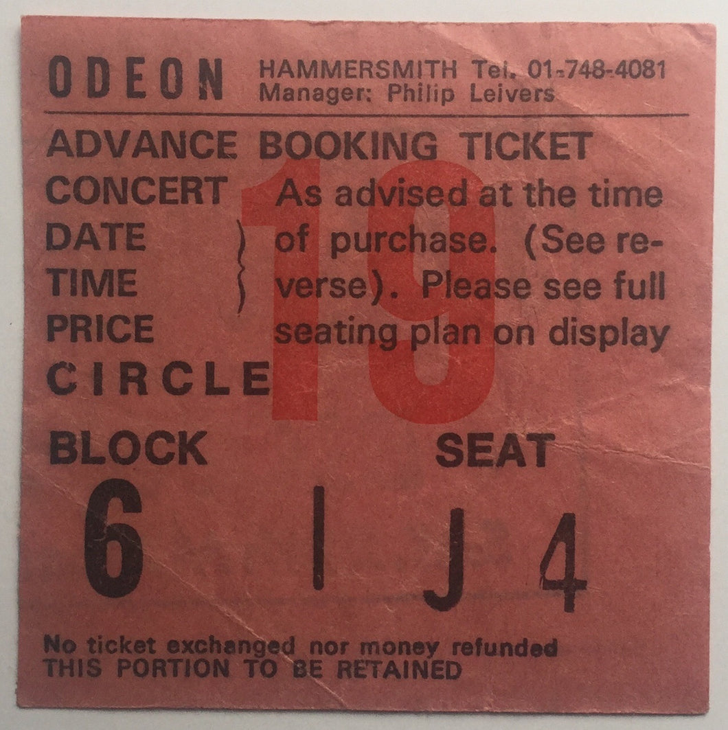Blondie Television Original Used Concert Ticket Hammersmith Odeon London 28th May 1977