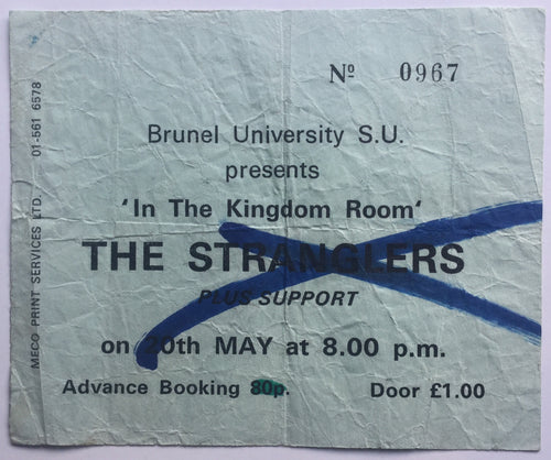 Stranglers Original Early Used Concert Ticket Brunel University 20th May 1977