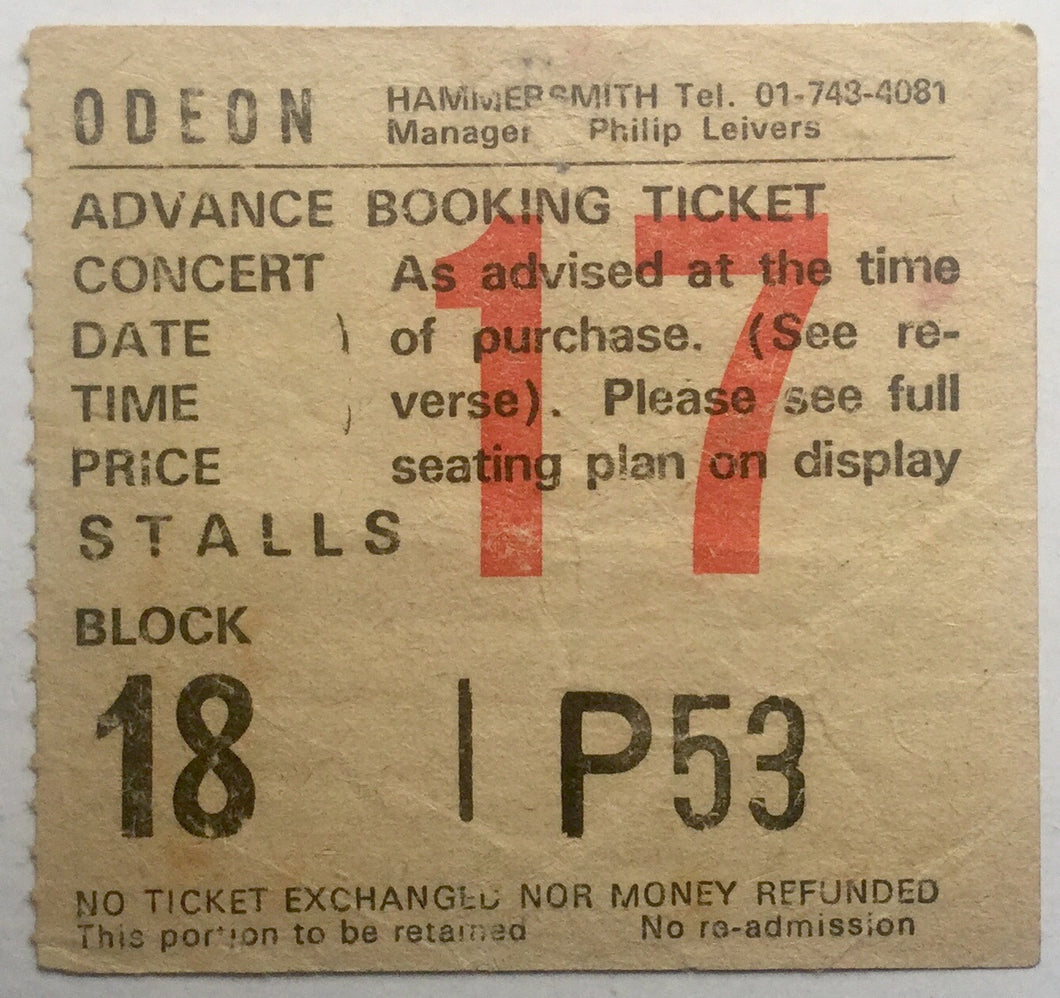 Siouxsie and the Banshees Original Used Concert Ticket Hammersmith Odeon London 3rd Sept 1981