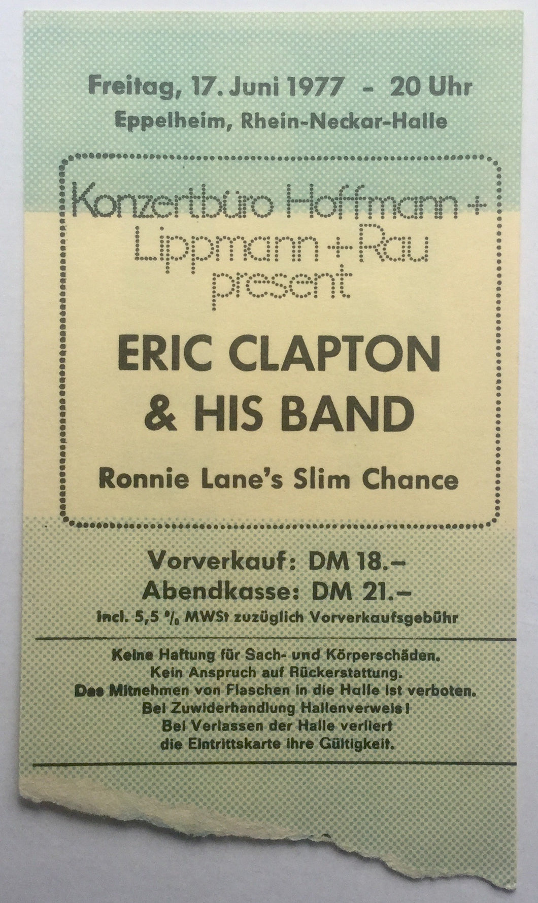 Eric Clapton Original Used Concert Ticket Rhein Neckar Halle Eppelheim 17th Jun 1977